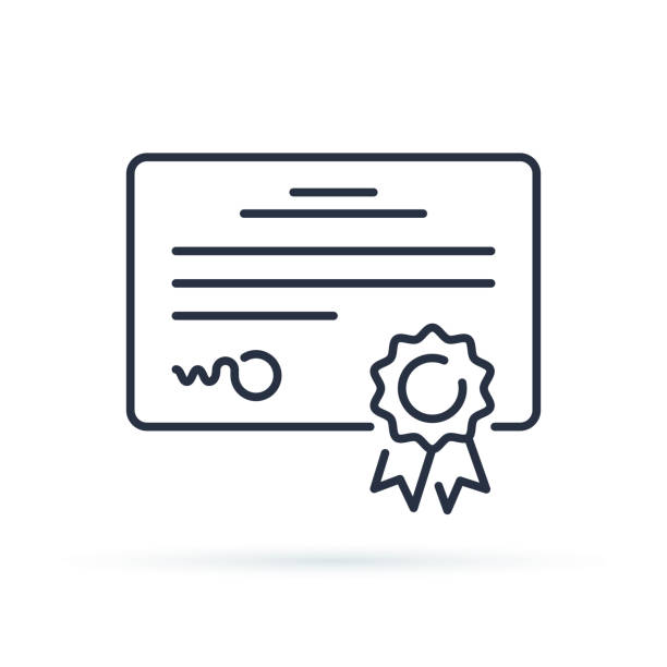 Vector certificate icon. Achievement or award grant, diploma concepts. Premium quality graphic design elements. Vector certificate icon. Achievement or award grant, diploma concepts. Premium quality graphic design elements. Modern sign, linear outline pictogram, simple thin line icon qualification round stock illustrations