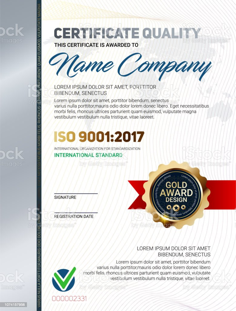 Vector Certificate Quality Template With Luxury Line Pattern And