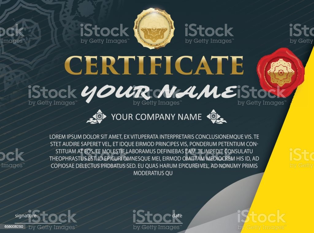 Plantilla de certificado de vector. elegante y con estilo. Con la concesión del certificado. - ilustración de arte vectorial