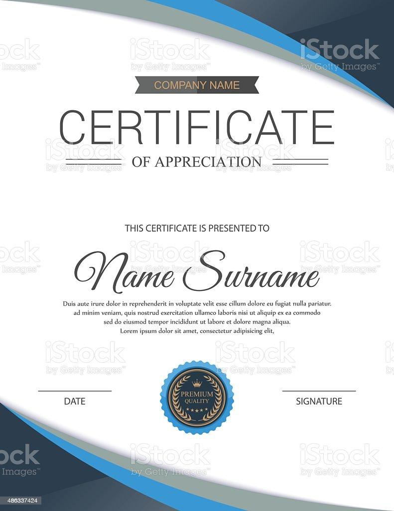 Vector Certificate Template stock vector art 486337424 – Stock Share Certificate Template