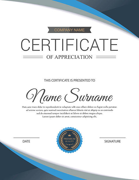 ilustraciones, imágenes clip art, dibujos animados e iconos de stock de vector de plantilla de certificado. - marcos de certificados y premios