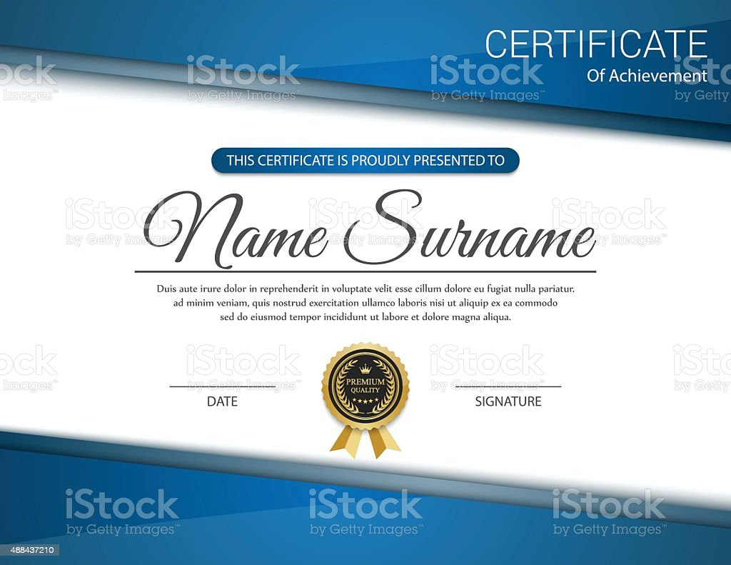 Vector de plantilla de certificado. - ilustración de arte vectorial