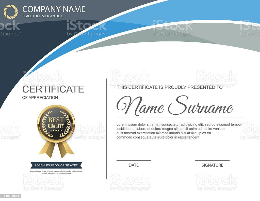 Vector certificate template. vector art illustration