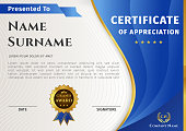 Vector certificate template with blue and gold elements and badge