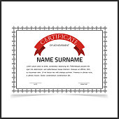 Vector certificate template with dark grey designe borders.