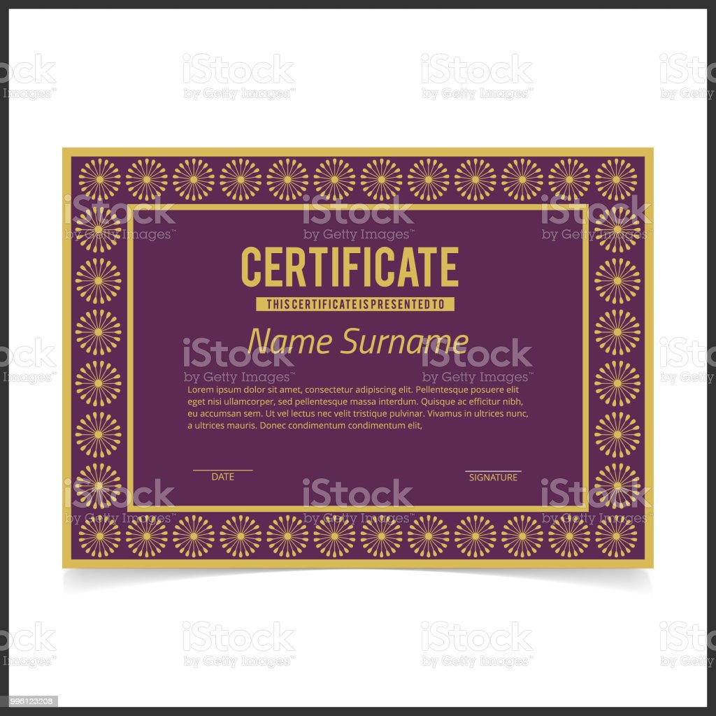vector certificate template with golden designe borders on purple card royalty free vector certificate