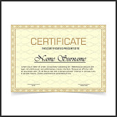 Vector certificate template with yellow designe borders on pale yellow card.