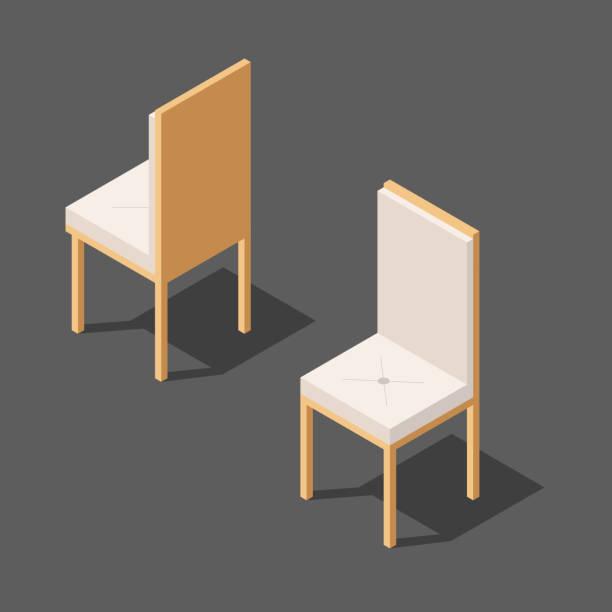 stuhl in zwei versionen mit rückenlehne vektor, vektor-illustration einer isometrischen ansicht - stuhllehnen stock-grafiken, -clipart, -cartoons und -symbole