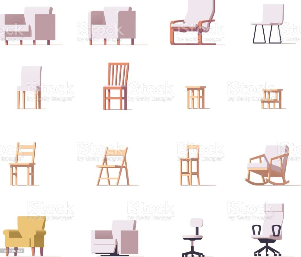Vector chairs set vector art illustration