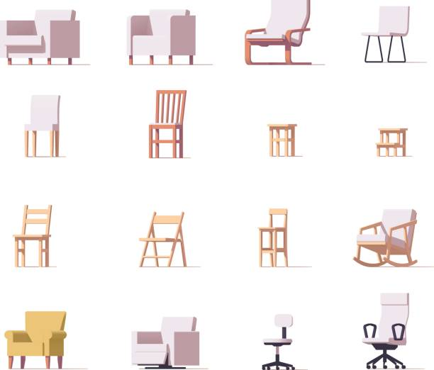 stockillustraties, clipart, cartoons en iconen met vector stoelen set - stoel