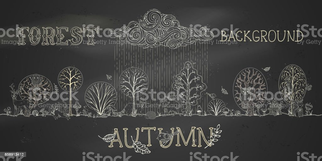 Vector chalk forest background. vector art illustration