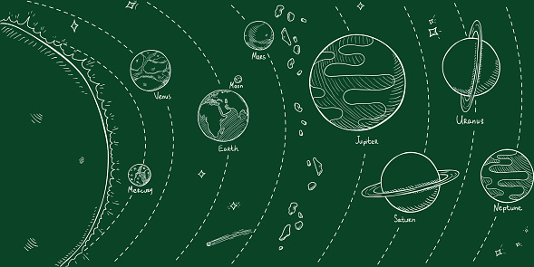 Vector Chalk Hand Drawn Sketch Illustration - Solar System with Sun and all Planets.