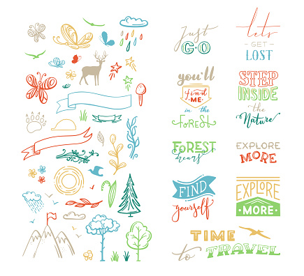 Vector chalk lettering and doodle clipart on nature / travel / wanderlust theme.