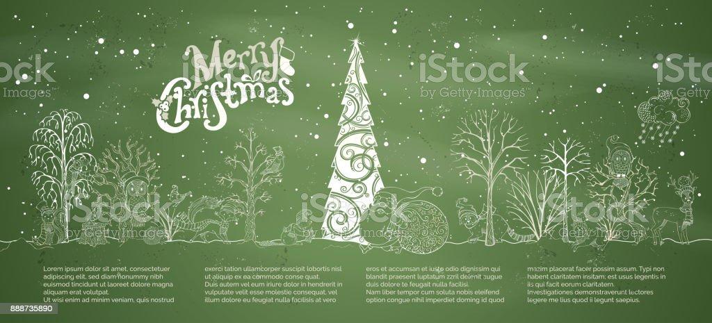 Vector chalk Merry Christmas background. vector art illustration