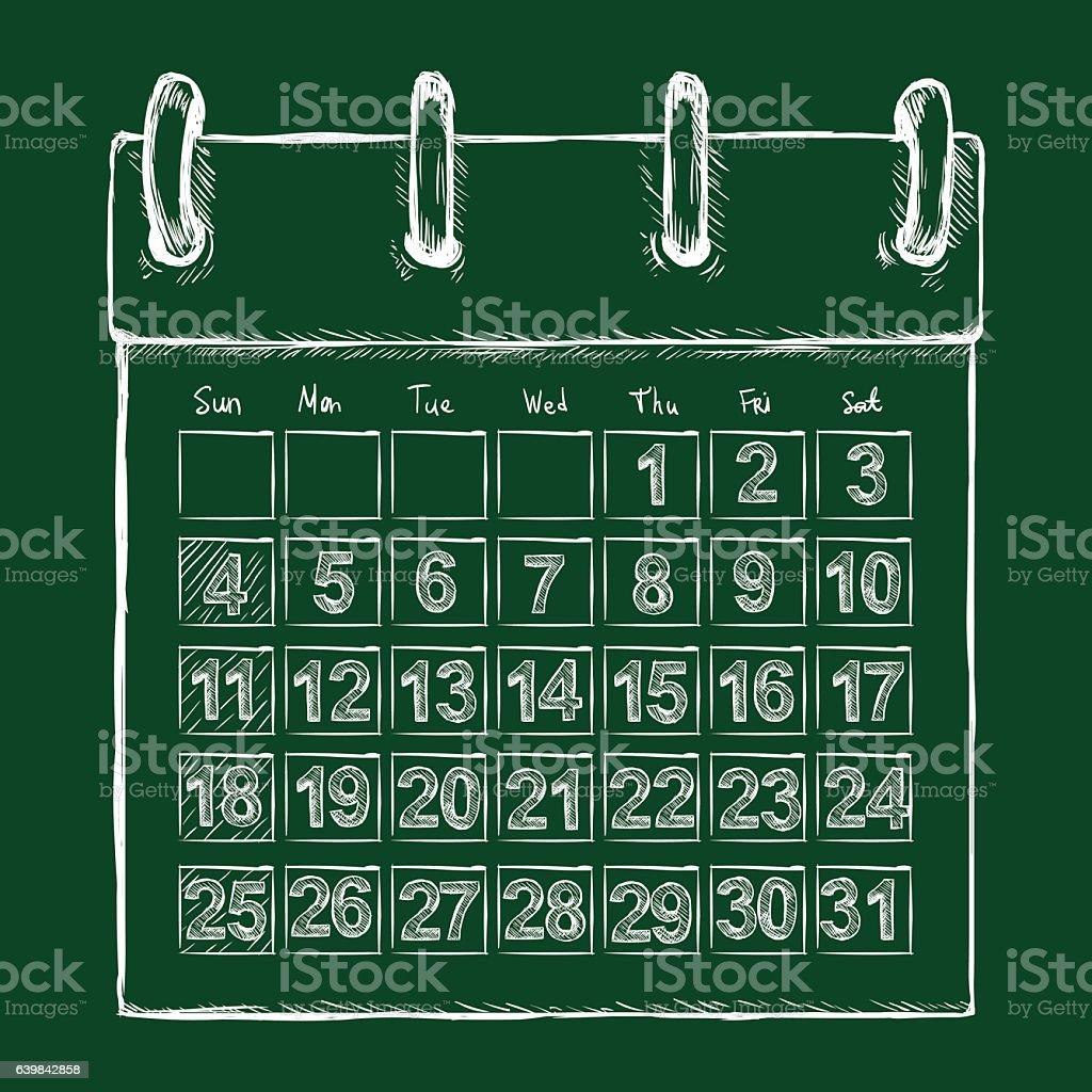 Vector Chalk Sketch Loose-leaf Calendar – Vektorgrafik
