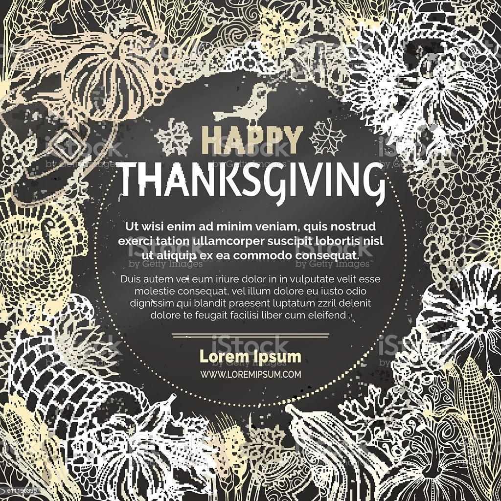 Vector chalk Thanksgiving background. vector art illustration