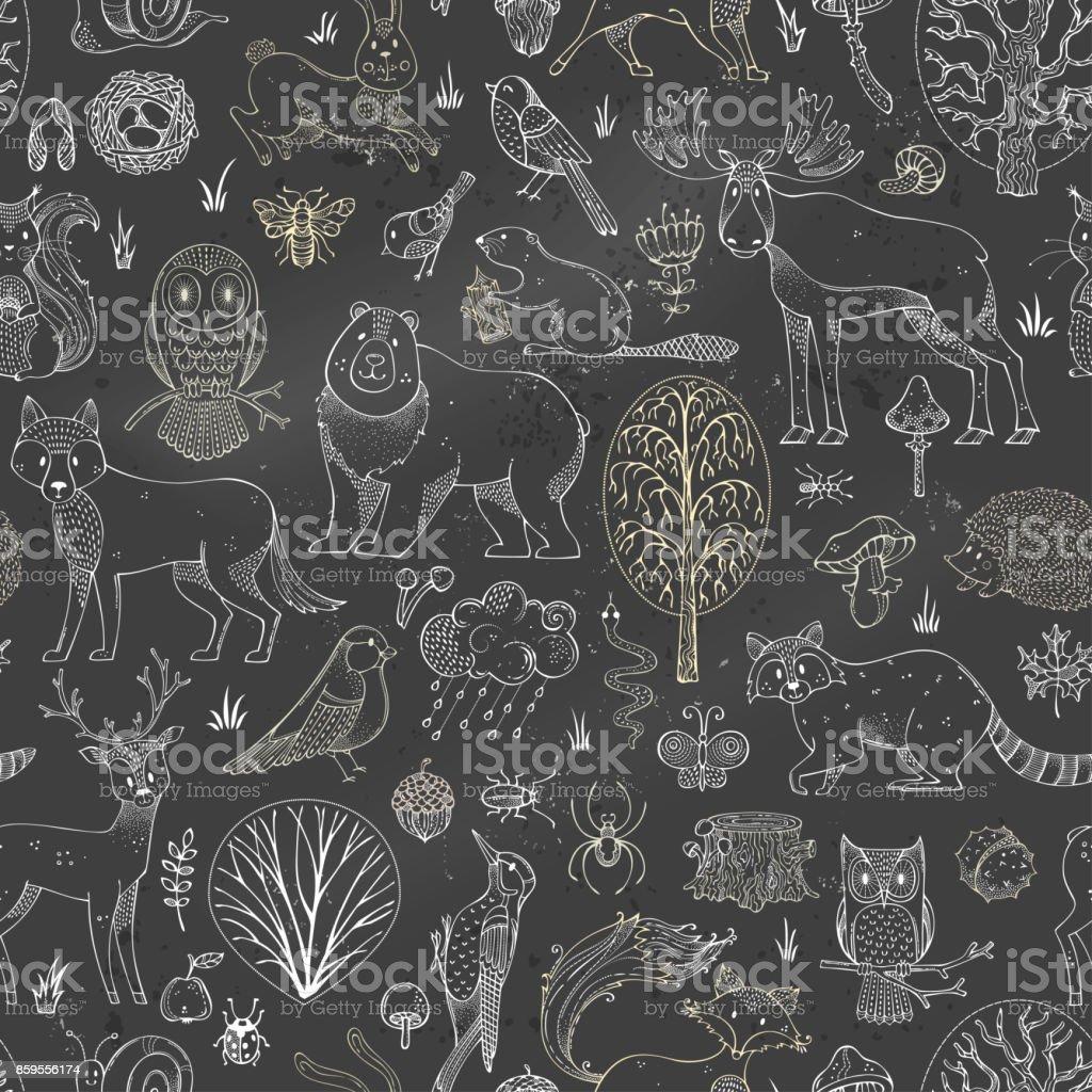 Vector chalk woodland seamless pattern on blackboard background. vector art illustration