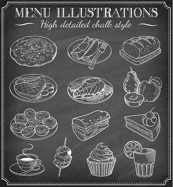 Vector Chalkboard Food Illustrations Vector Chalkboard Food Illustrations. Set of vector hand drawn illustrations on a dirty blackboard. Vector file is layered for ease of use bread borders stock illustrations