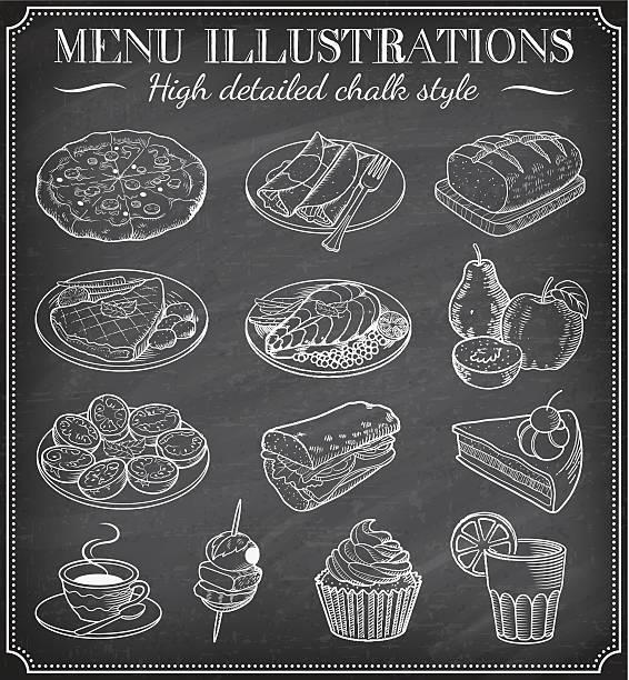 bildbanksillustrationer, clip art samt tecknat material och ikoner med vector chalkboard food illustrations - crepe