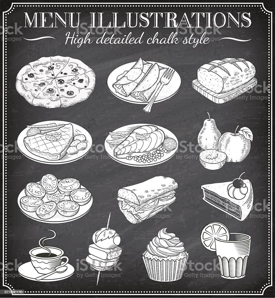 Vector Chalkboard Food Illustrations vector art illustration