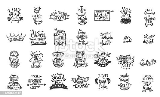 istock Vector Chalkboard phrase handwriting calligraphy. Black and white engraved ink art. Isolated quotes illustration element. 1189800512