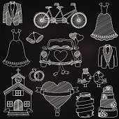 Vector Chalkboard Style Wedding Themed Doodles