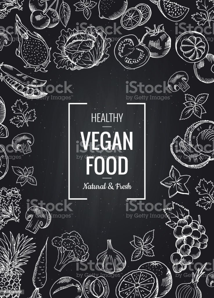 Vector chalkboard vertical background with vegetables and fruits and place for text vector chalkboard vertical background with vegetables and fruits and place for text - immagini vettoriali stock e altre immagini di aglio - alliacee royalty-free