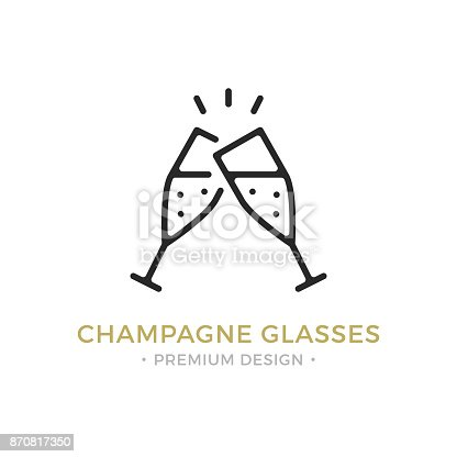 Vector champagne glasses icon. Celebration, holidays, toast concepts. Two champagne flutes. Premium quality graphic design. Outline symbol, sign, simple linear stroke thin line icon for websites, web design, etc.