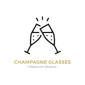 istock Vector champagne glasses icon. Celebration, holidays, toast concepts. Two champagne flutes. Premium quality graphic design. Outline symbol, sign, simple linear stroke thin line icon 870817350