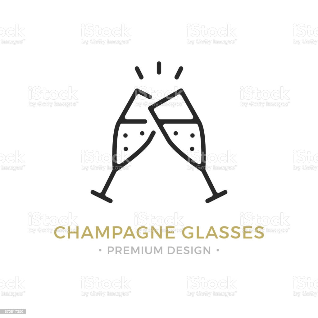 Vector champagne glasses icon. Celebration, holidays, toast concepts. Two champagne flutes. Premium quality graphic design. Outline symbol, sign, simple linear stroke thin line icon vector art illustration