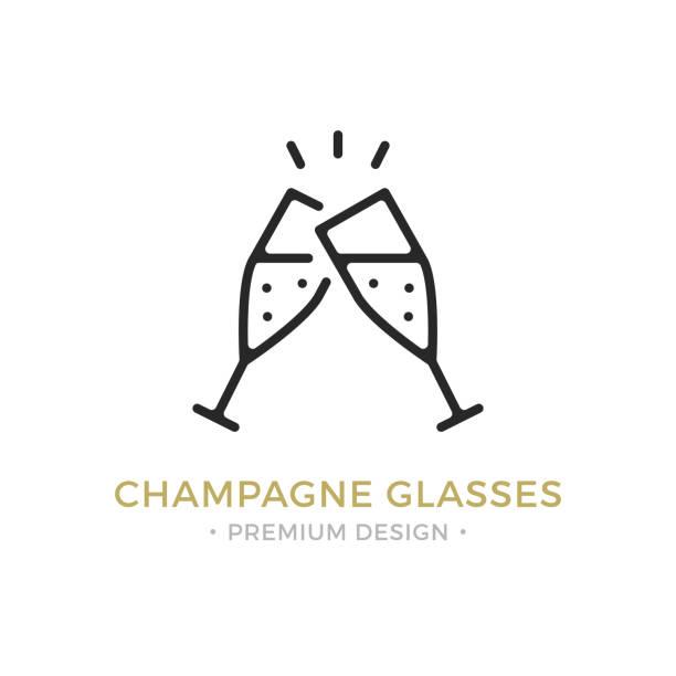 ilustrações, clipart, desenhos animados e ícones de ícone de taças de champanhe de vetor. celebração, feriados, conceitos de brinde. duas taças de champagne. design gráfico da qualidade premium. delinear o símbolo, sinal, ícone de linha fina de curso linear simples - brinde