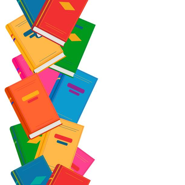 Vector chaotic endless vertical border with colored books. Vector chaotic endless horizontal border with colored books. Back to school concept, seamless pattern for design, kids zone, offers, sale, book festival. Cute education background. book borders stock illustrations