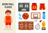 Vector character basketball player. Illustrations of basketball equipment. Set of cartoon professions.