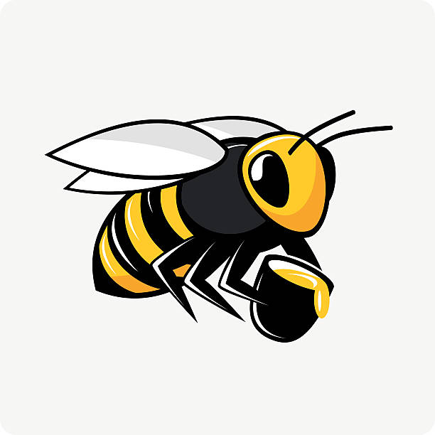 vector character bee with honey - bienenwachs stock-grafiken, -clipart, -cartoons und -symbole