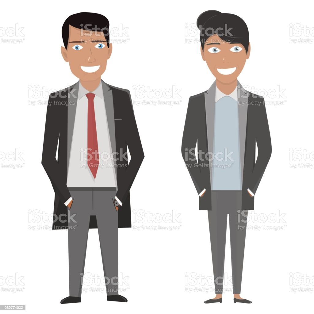 Vector character illustration. Business woman and man in a suit and tie on the white background royalty-free vector character illustration business woman and man in a suit and tie on the white background stock vector art & more images of adult