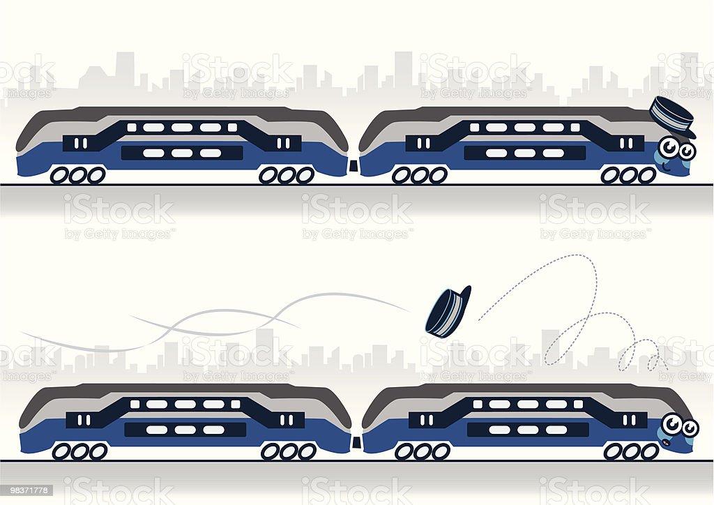 Carattere illustrazione vettoriale di un treno di perdere il suo cappello carattere illustrazione vettoriale di un treno di perdere il suo cappello - immagini vettoriali stock e altre immagini di allegro royalty-free
