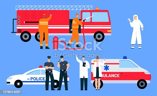 Vector character illustration of emergency service teams isolated