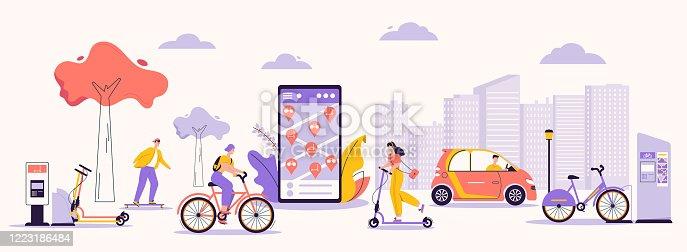 istock Vector character illustration of man, woman using rental service 1223186484