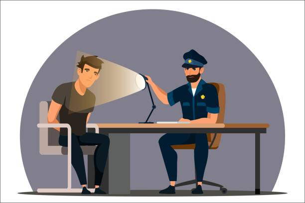 Vector character illustration work of police department Work of police department. Police officer interrogates man suspected of crime, glowing light of lamp into face. Detained man in handcuffs testifies, gives evidence. Vector character illustration police meeting stock illustrations