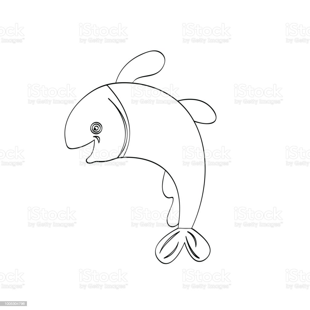 Vektör Karakter Karikatür Balık çizim çocuklar Için Eğitim çocuk