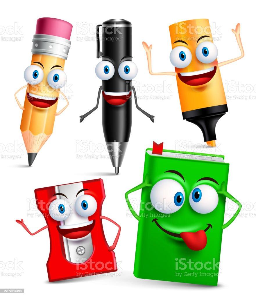 Vector character of school items funny mascot 3D set vektör sanat illüstrasyonu
