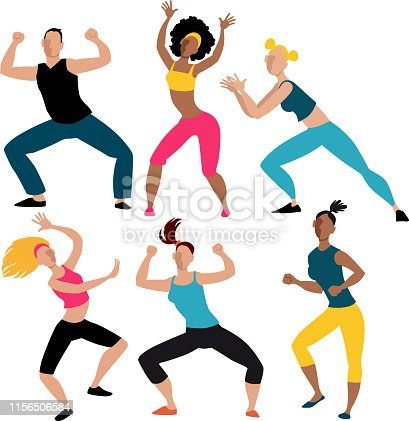 Six people doing aerobic dancing workout exercise, EPS 8 vector illustration