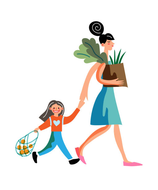 Vector characters family shopping at farm market Vector characters mom and daughter buy organic vegetables and fruits. Family shopping at seasonal outdoor farmer local market. Concept of retail business, lifestyle, healthy food and eating habits ethical consumerism stock illustrations
