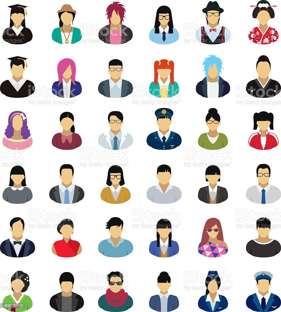 Vector characters (East Asia) – icon set vector art illustration
