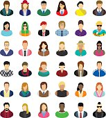 Set of thirty-six people icons.