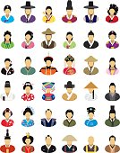 Vector characters (East Asia, traditional clothes) - icon set