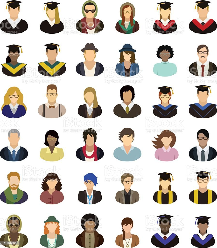 Vector characters (university, college, school). People icon set. - ilustración de arte vectorial