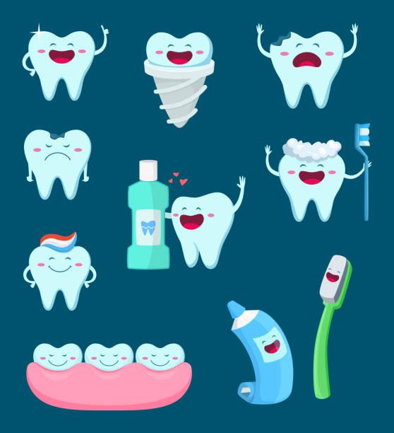 bildbanksillustrationer, clip art samt tecknat material och ikoner med vector tecken uppsättning roliga tänder och tandborste. tecknad maskot illustrationer - molar