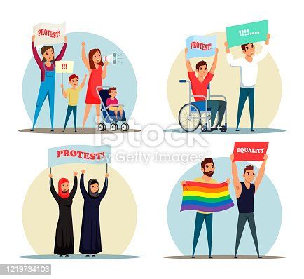 Vector characters various people group protest set. Mothers with children demonstration posters and speaker with megaphone. Muslim women, disabled person and LGBT community fight for their rights