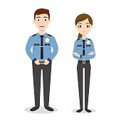 Vector characters: two young happy police officers.